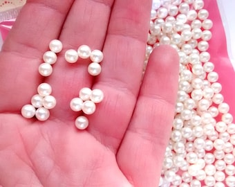 50/100 pieces 5mm cream round ball sprinkles, no hole, slime hundreds and thousands, wedding, whipped cream toppings decoden cabochon