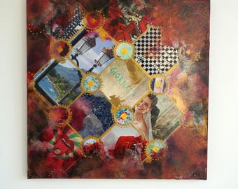 """Signed artwork, collage art, technical mixed on canvas titled """"Una Giornata"""""""