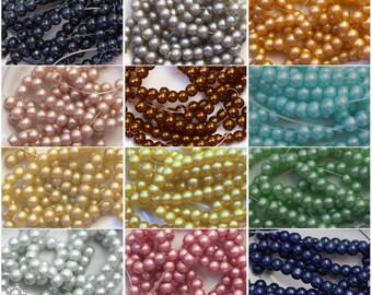 Set of 12 beads 8mm round glass blue red purple Orange Green Pink Brown Beige gray