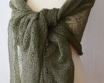 Linen Scarf Knit Shawl  Natural Summer Wrap Green Women Accessory Gift for her