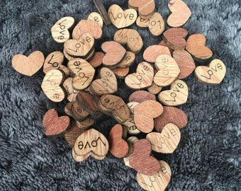 50 x wooden scatter love heart decorations. DM012.