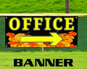 Office Pumpkin with Right Arrow Commercial Business Advertising Banner Sign