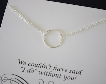 6 Infinity Bridesmaid Necklace, Ring Bridesmaid Gift, Thank You Card, Sterling Silver Karma Necklace, Bridesmaid Jewelry, Silver