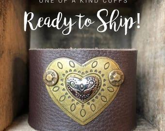Ready to Ship Cuff - layered heart - brown cuff - Love Squared Designs