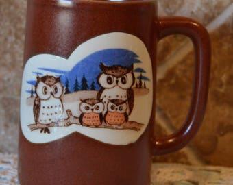 """Cute Vintage Owl Mug~Just Under 5"""" Tall~Whoooooo Needs This Mug?  EUC~Brown Ceramic"""