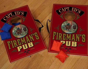 Personalized Table Top Corn Hole Game  (Fireman)