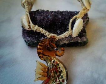 Hemp Choker with glass Seahorse Pendant