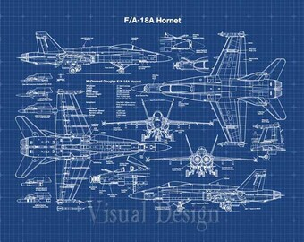 F18 Hornet Patent Print - Patent Art Print - Patent Poster - Fighter Jet - Airplane - Military Aircraft - Navy - Marines - Air Force - F-18
