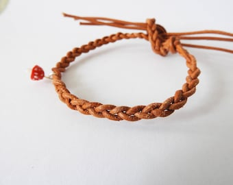"Leather wristband ""Toadstool"""