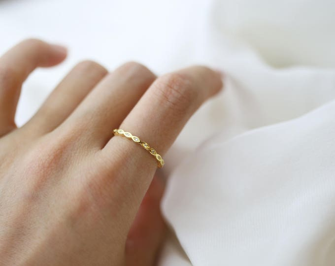 Stackable Band Eternity CZ Band // CZ Wave Stacking Rings // Dainty Rings in Sterling silver with Cubic zerconia