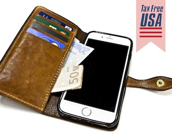 """iPhone 6 Leather Case Washed Leather Aged with credit card holder FLIP Book for 4.7"""" & PLUS 5.5"""" col CHOOSE"""