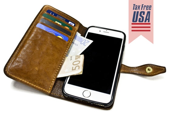 "iPhone 6 Leather Case Washed Leather Aged with credit card holder FLIP Book for 4.7"" & PLUS 5.5"" col CHOOSE"