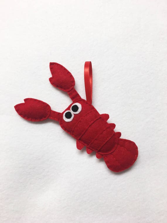 Lobster Ornament, Christmas Ornament, Luigi the Lobster, Christmas Decoration, Felt Ornament, Felt Animal, Ocean