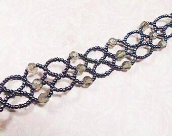 Vintage Hand Beaded Black Pearl Seed Bead Choker - N-121 - Black Choker - Hand Beaded Choker