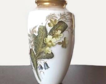 Antique George Jones & Sons Vase, 1800's Crescent China Primrose Pattern, Stoke England, Aesthetic Movement Porcelain Flower Vase
