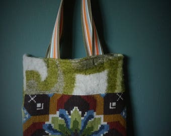 Bag of vintage blanket and embroidery.