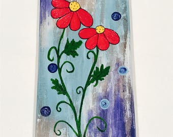 Daisies painted on aged wood