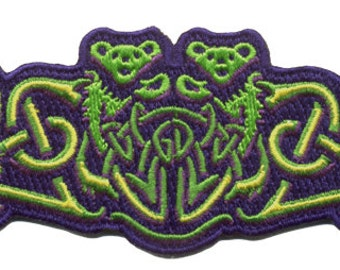 Grateful Dead slipknot Iron on Patch/ Dancing Bears woven into a celtic design