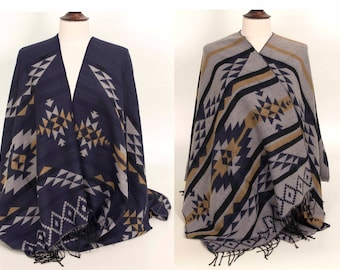 Blue Poncho, Grey Poncho, Aztec Poncho, Mens Poncho, Women Poncho, Ethnic Poncho, Blue Cape, Aztec Cape, Ethnic Cape, for her, for him