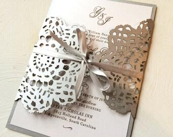 Silver Gray Lace Wedding Invitation, Laser Cut Wedding Invitation, Custom Colors Available