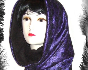 Satin, Lace & Fleece Snood, Gothic, Burlesque, many colours available