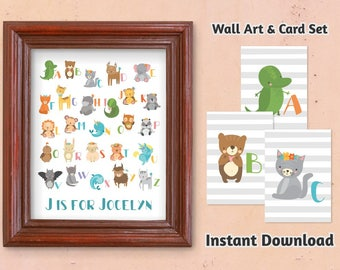 Personalized Animal Alphabet Nursery Wall Art - Boy / Girl Letters Flash Card Set - Printable Baby Shower Gift Instant Download Digital File
