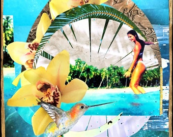 NEW! JOSIE SLIDE, 3 Sizes, 8x10, 11x14, 16x20, Hand Signed Matted Print, Surfing, Surf Art, サーフ, surfer, Orchids, wave, Surf, humming bird