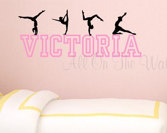Gymnastics Wall Decal Girls Name Decal Personalized Gymnast Decal Gymnastics Bedroom Decor Tumbling Decal Bedroom Wall Art Girls Decor  sc 1 st  Etsy & Gymnastics name art | Etsy