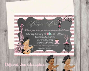 Digital Chalkboard Pink Glitter Bonjour Paris Baby Shower African American, Hispanic Baby Girl Shower Invitation Personalized Printable