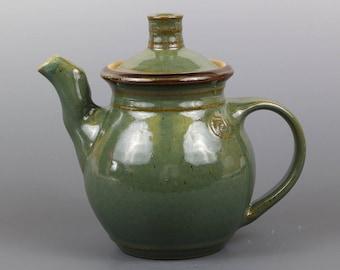 Handmade Stoneware Teapot in Kiwi Glaze