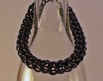 Chainmaille Bracelet Black Stainless Steel Full Persian