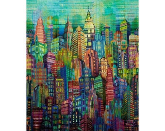 Hoffman - Skylines - Citiscape - Digitally Printed Spectrum Fabric by the Yard N4234-130