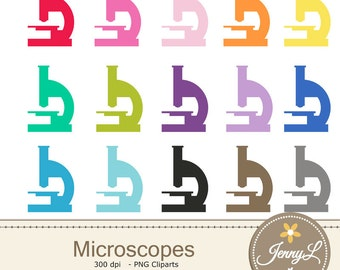 Microscope Clipart Medical  for Planners, Digital Scrapbooking, Invitations, cupcake toppers, Stickers, Labels
