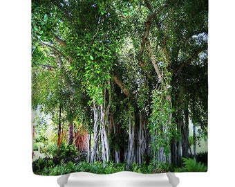 TROPICAL FOREST BANYAN Tree Photo Printed Bathroom Shower Curtain Tree Green Trees Ferns Shower Curtain Trees Bath Shower Curtain