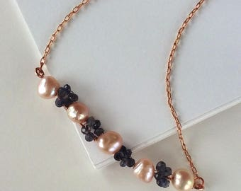 Violette Iolite and Freshwater Pearl Necklace