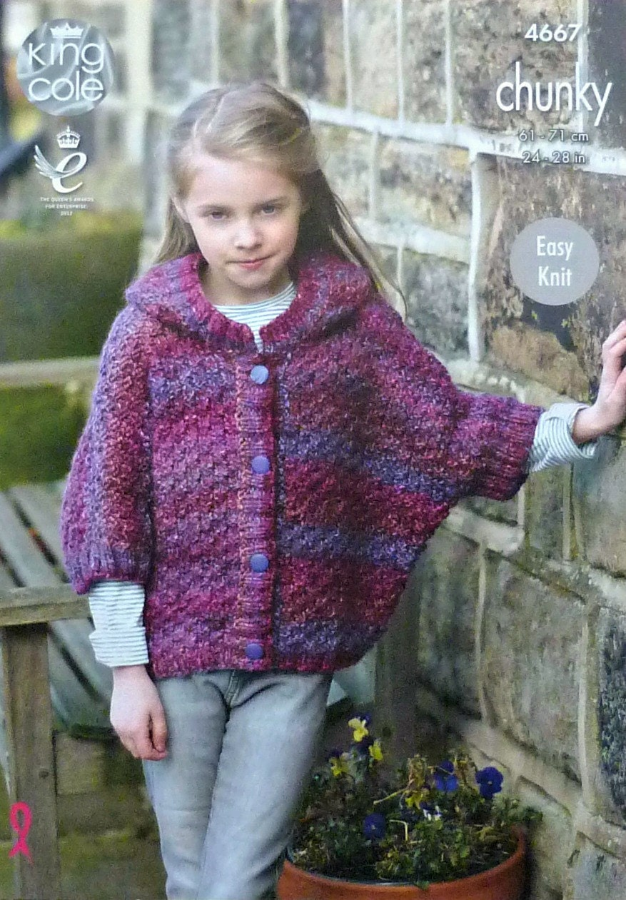 Girls Knitting Pattern K4667 Girls Easy Knit Short Sleeve Hooded ...