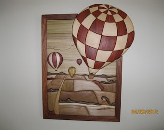 BALLOON RACE intarsia wood carved by Rakowoods, gift for den or cabin, birthday gift or anniversary gift,personal gift,wall decor
