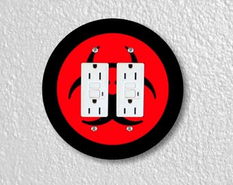 Biohazard Sign Round Double Grounded GFI Outlet Plate Cover