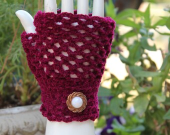 Burgundy Fingerless Crocheted Gloves With Button - One Size - Stretchable