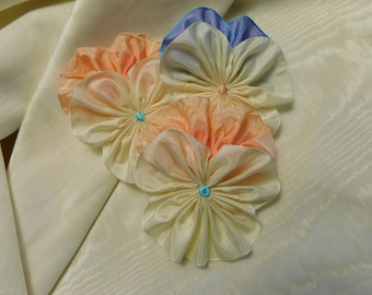 Playful Pansy Trio Ribbon Flowers Appliques