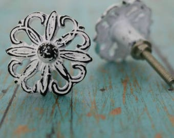 Floral Metal Cabinet Knob in Distressed Finish