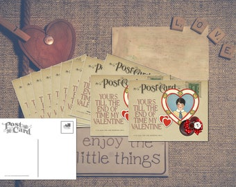 Little Boy in Heart Valentine's Day Card Vintage look Postcard Old Fashioned Stationary Set - Standard Size - Set of 12 Cards