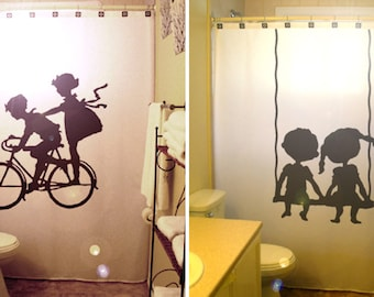 Brother Sister Kids Shower Curtain, Boy Girl Siblings Shared Bathroom Decor, Swing Children Bicycle, extra long custom fabric colors