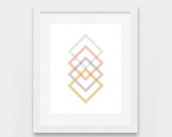 Minimalist, Geometric Art, Square Chain Link Print, Gold Grey Peach Wall Art, Modern Wall Art, Abstract Digital Print, Printable Art