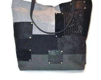 Sac Noir, Sac femme, Sac Patchwork, Sac Cabas, Sac Shopping, Sac à Main, Sac cuir Noir, Sac a main, Sac vintage, Sac gris