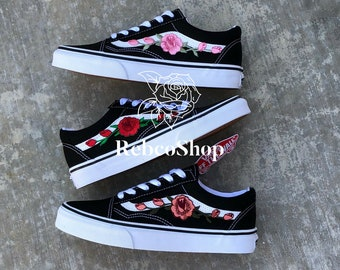 Image is loading Rose-Embroidered-Vans