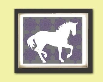 Horse Silhouette on damask design -  Kids Art Prints, Horse art, nursery decorating ideas, nursery horse illustration