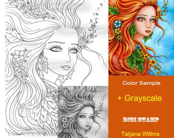 Special Price! Windblown - Fantasy Coloring Sheet Digi Stamp Adult Coloring Girl. Grayscale Instant Download!