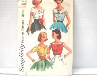 1950s Button Front Fitted Blouse Pattern - Simplicity 2062 - Bust 32 Waist 25