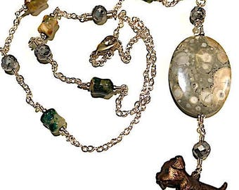 Silver Necklace with Vintage Dog Charm